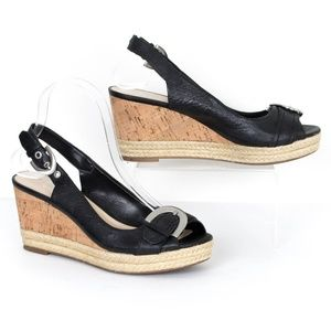 Franco Sarto Black Wedge Slingback Sandals SL